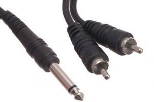 1/4 IN Mono Male to Dual RCA Male Adapter Cable - 6 IN
