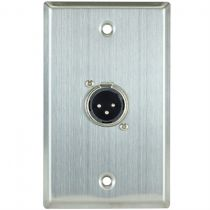 XLR 3 Pin Male Wall Plate - Single Gang - 1 Port - Stainless Steel