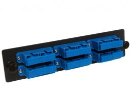 Single Mode Fiber Adapter Panel - 6 Stacked Ceramic Duplex SC Adapters