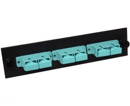 10G Multimode Fiber Adapter Panel - 3 Duplex SC Couplers - 6 Ports Total