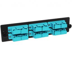 10G Multimode Fiber Adapter Panel - 6 Stacked Duplex SC Couplers - 12 Ports Total
