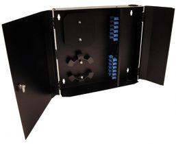 Loaded Wall Mount Fiber Enclosure - SM + MM SC Simplex Couplers - 24 Port