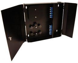 Loaded Wall Mount Fiber Enclosure - 12 SM + 12 MM LC Duplex Couplers - 24 Port