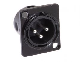 XLR 3 Pin Male Chassis Mount Connector - Plastic