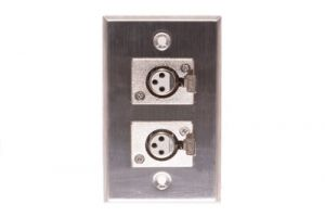 XLR 3 Pin Female Wall Plate - Single Gang - 2 Port - Stainless Steel