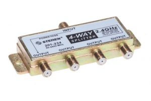 4-Way Coax Splitter - 40 to 2400 MHz - One Port Power Passive