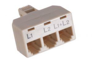 RJ11 Male to Triple RJ11 Female Telephone Splitter Adapter - 6P4C - L1+L2