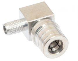 QMA Right Angle Male Crimp Connector - RG58 & LMR-195