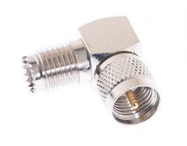 Mini UHF Male to Mini UHF Female Right Angle Adapter