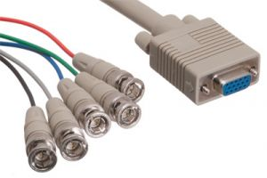 5 BNC Male to HD15 VGA Female Adapter Cable - 1 FT