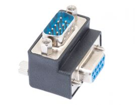 DB9 Male to DB9 Female Low Profile Right Angle Serial Adapter - Type 1
