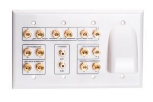 7.2 Home Theater Wall Plate with Horn - Quadruple Gang - White
