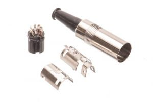 8 Pin DIN Female Solder Connector - Metal - 270° Style