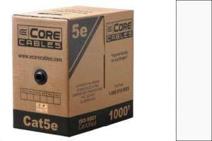Cat5e UTP Solid Plenum Cable - White - 500 FT