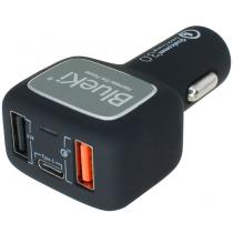 BlueKi 3 Port USB Car Charger with USB Quick Charge 3.0, USB-C, and USB Smart Sensing Technology