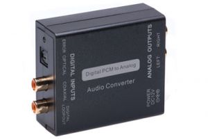 Digital Coax and Optical Audio to RCA Stereo Audio Converter