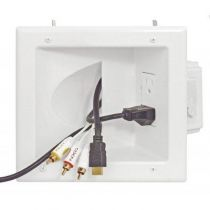 Recessed Pass Through Wall Plate with Dual Power Outlets