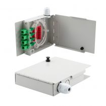 4 Port FTTH Terminal Box - Metal with SC/APC Pigtails and SC/APC Adapters