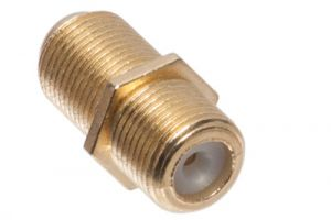 F-Type Female to F-Type Female Inline Splice Coupler Adapter - Gold