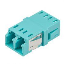 Fiber Optic LC Duplex Coupler - Multimode - No Flange - Aqua