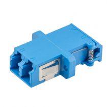 Fiber Optic LC Duplex Shuttered Coupler - Single mode - With Flange - Blue