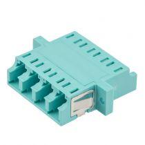 Fiber Optic LC Quad Adapter - Mulitmode - Flange - Aqua