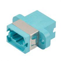 MPO/MTP Type A Coupler - Full Flange - Dual Dust Caps - Aqua