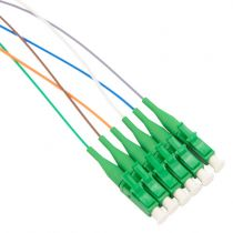 6 Fiber LC/APC Distribution Style Pigtail, SM, Green Boots
