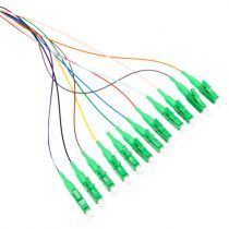 12 Fiber LC/APC Distribution Style Pigtail, SM, Green Boots