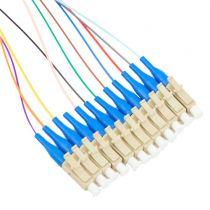 12 Fiber LC/UPC Distribution Style Pigtail, MM, 50μm, OM3, Aqua Boots