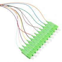 12 Fiber SC/APC Distribution Style Pigtail, SM, Green Boots