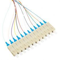 12 Fiber SC/UPC Distribution Style Pigtail, MM, 50μm, OM3, Aqua Boots