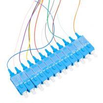 12 Fiber SC/UPC Distribution Style Pigtail, SM, Blue Boots