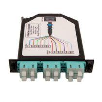 1 MTP Male (12 fiber) to 6 Duplex SC Connectors LGX Fan-out Cassette, OM3 Multimode