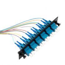 Six-Pack Duplex Adapters, LC/UPC, 12 Fiber Pigtail, Singlemode, 3 Meters, Black