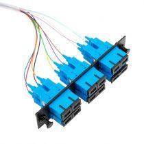 Six-Pack Duplex Adapters, SC/UPC, 12 Fiber Pigtail, Singlemode, 3 Meters, Black
