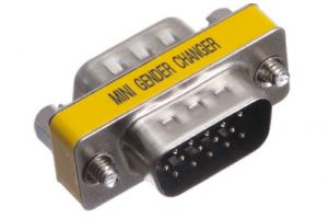 HD15 VGA Male to HD15 VGA Male Low Profile Gender Changer