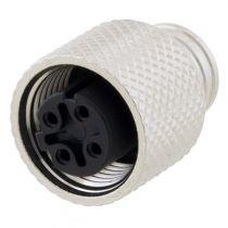 L-com M12 4 Pole D-code Mold Connector - Female - Shielded