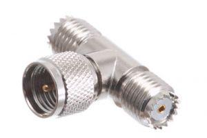 Mini UHF Male to Female T Adapter