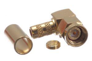 Reverse Polarity SMA Right Angle Male Crimp Connector - LMR-600