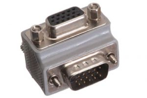 HD15 VGA Male to HD15 VGA Female Low Profile Right Angle Adapter