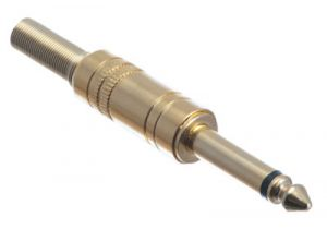 Professional Grade 1/4 IN Mono Male Solder Connector - Gold