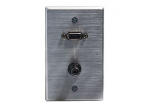 HD15 VGA and 3.5mm Wall Plate - Single Gang - Stainless Steel