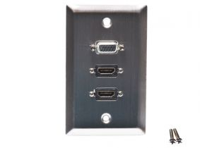 Single Gang Stainless Steel Wall Plate with 2 HDMI F/F and 1 VGA (HD15) F/F