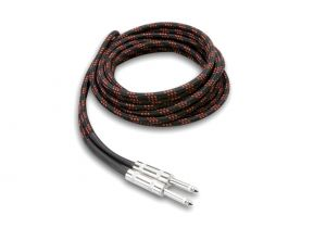 Pro-Audio 1/4 IN Mono Male to Male Woven Cloth Instrument Cable - 18 FT - Black/Red