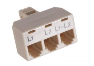 RJ11 Male to Triple RJ11 Female Telephone Splitter Adapter - 6P4C - L1+L2