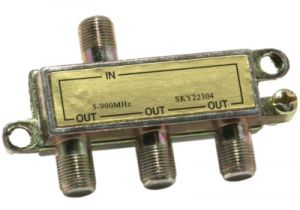 3-Way Coax Splitter - 5 to 900 Mhz - All Ports Power Passing