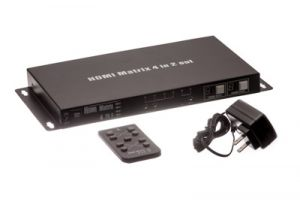 4 in/2 out HDMI Matrix Switch with IR Extension, 3D Ready