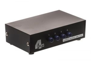 4-Way Composite RCA Audio Video Input Selector Switch Box (4in/1out)