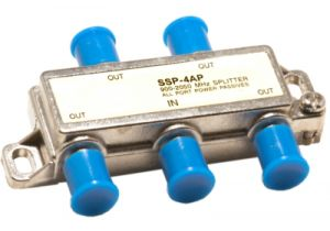 4-Way Coax Splitter - 40 to 2300 MHz - All Ports Power Passing